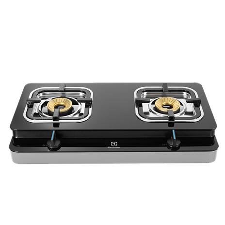2-Burner Glass Tabletop Gas Cooker - Black Safety Glass